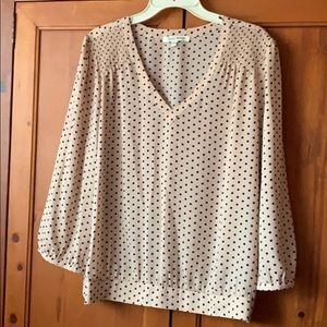 Black and Tan V neck banded blouse sz XL